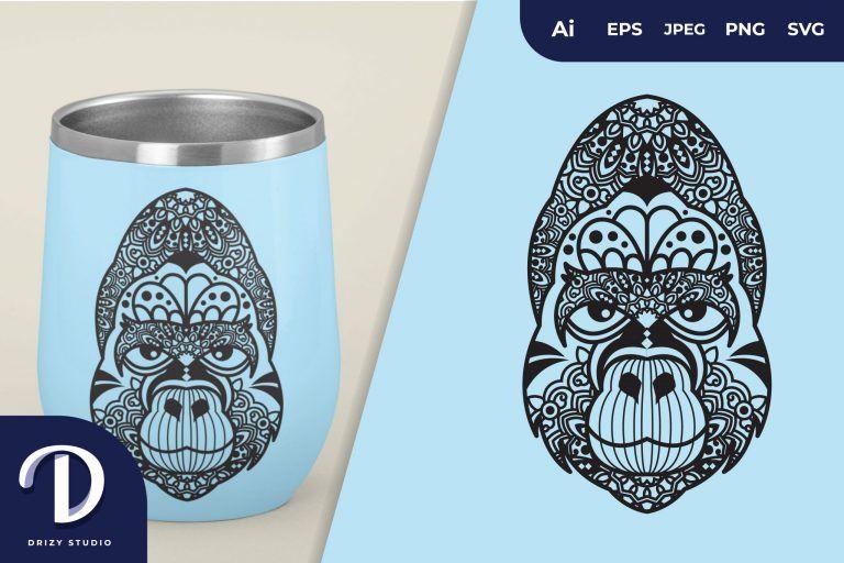 Happy Gorilla Mandala for T-Shirt Design