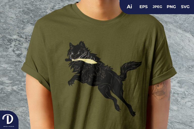 Wolf And Dagger for T-Shirt Design