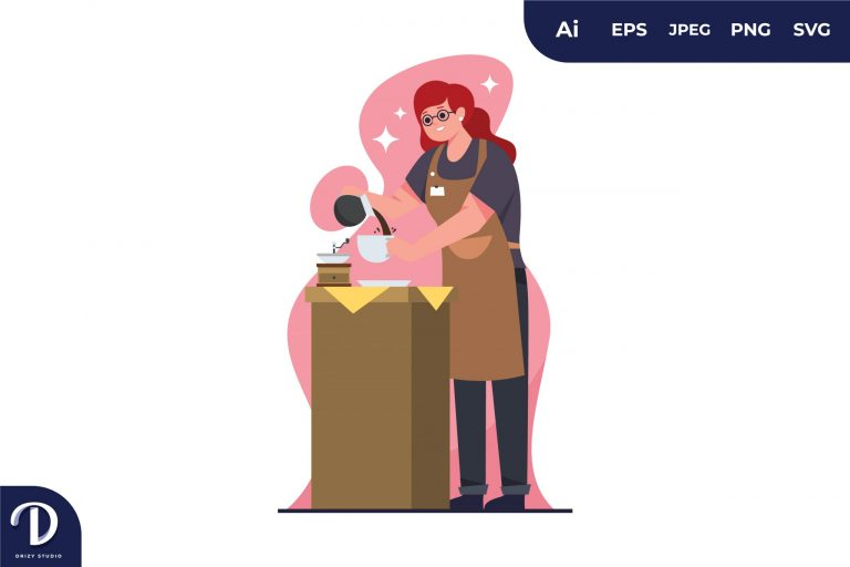Women Barista Coffee Illustration