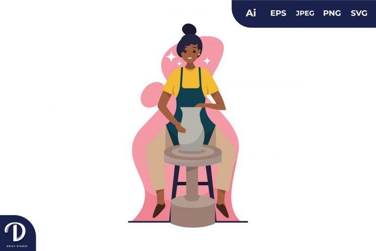 Preview image of Women Creating Vase Illustration