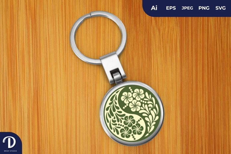 Preview image of Yin And Yang Flowers Keychain