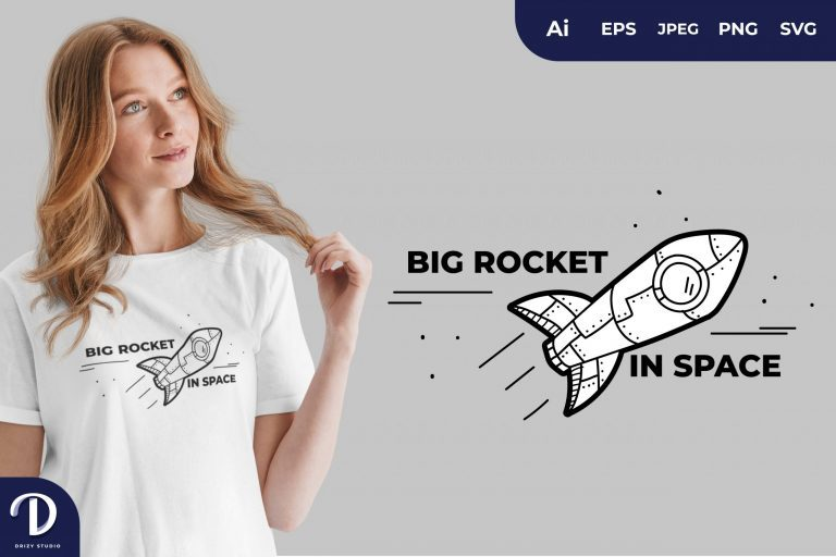 Big Rocket in Space for T-Shirt Design