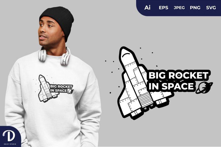 Space Shuttle Big Rocket in Space for T-Shirt Design