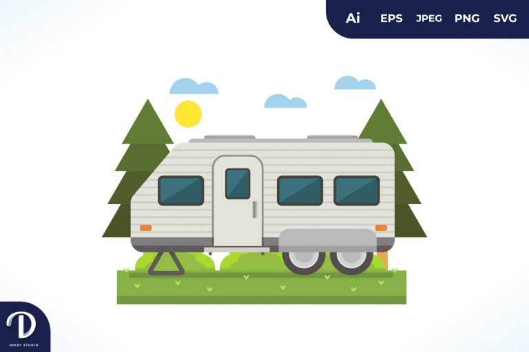 Camping with Grey Strip Caravan at Day