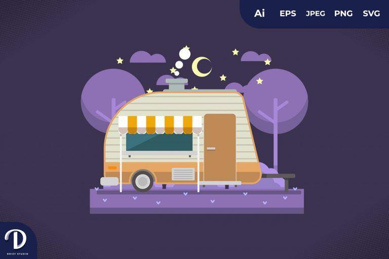 Camping with Minimalist Caravan at Night
