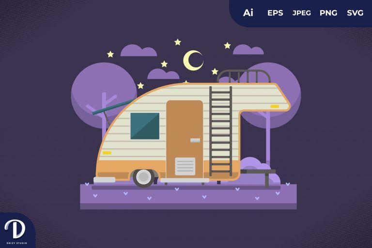 Camping with Unique Caravan at Night