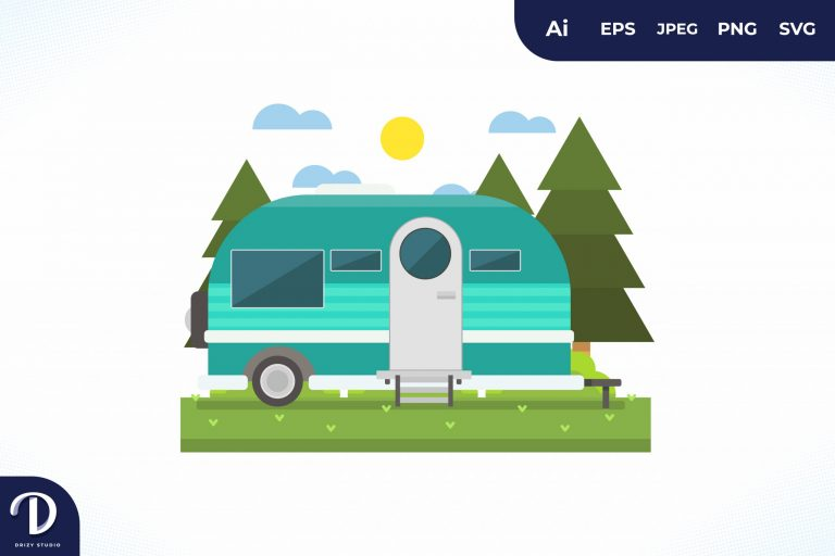 Camping with Tosca Caravan at Day