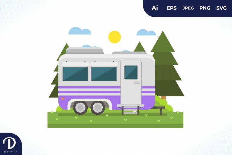 Camping with Purple Strip Caravan at Day
