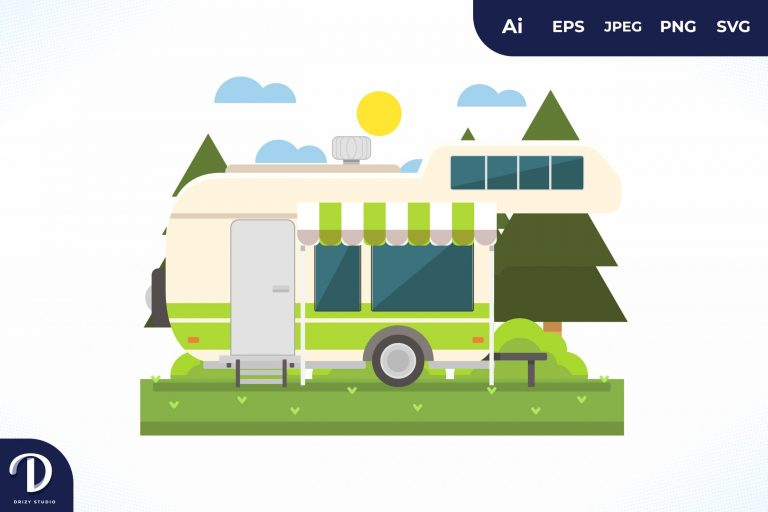 Preview image of Camping with Green Strip Caravan at Day