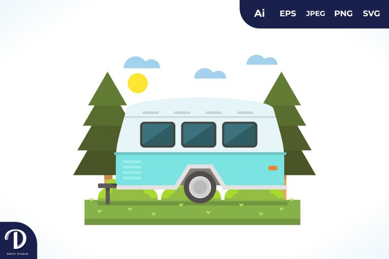 Preview image of Camping with Light Blue Strip Caravan at Day