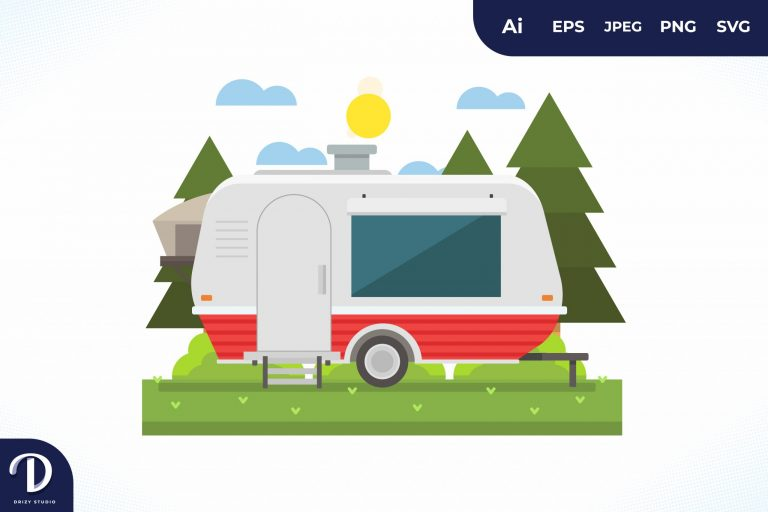 Camping with Red Strip Caravan at Day