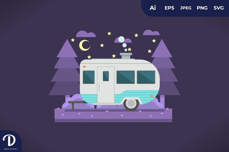 Camping with Light Blue Strip Caravan at Night