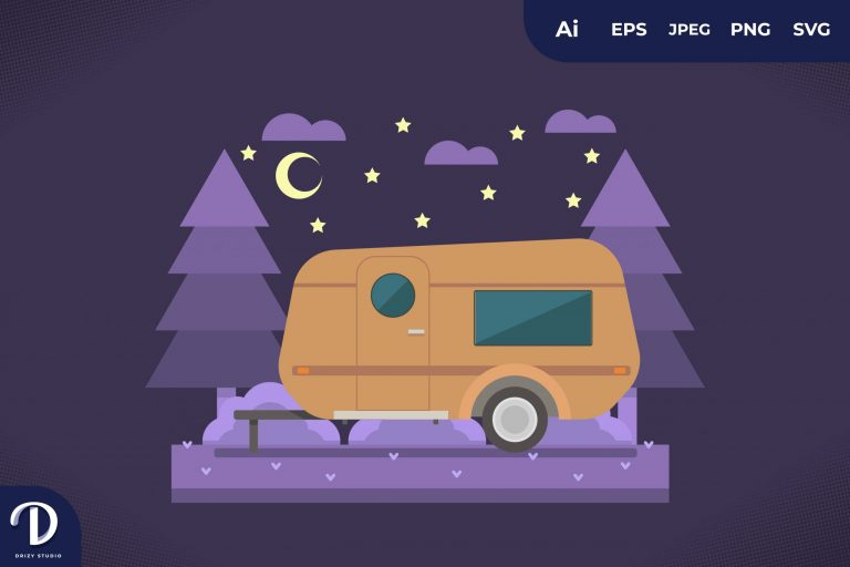 Preview image of Camping with Orange Caravan at Night