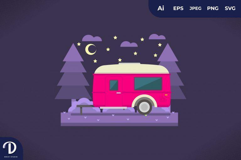 Camping with Pink Caravan at Night