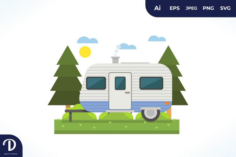 Camping with Blue Strip Caravan at Day