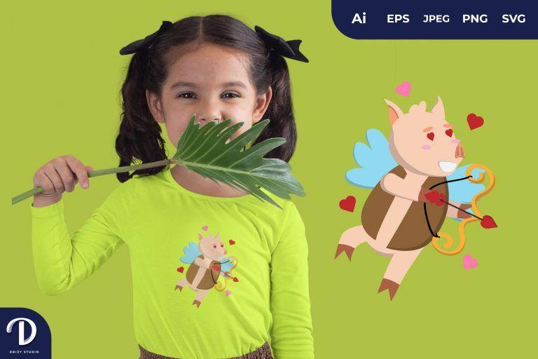 Love Eyes Cupid Pig Illustration for T-Shirt Design