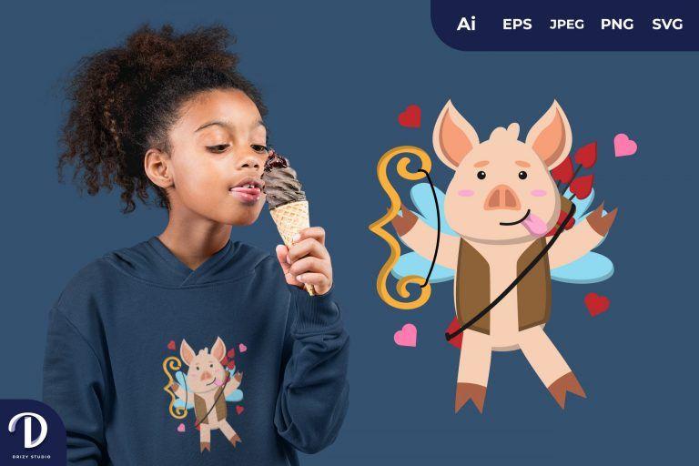 Tease Cupid Pig Illustration for T-Shirt Design