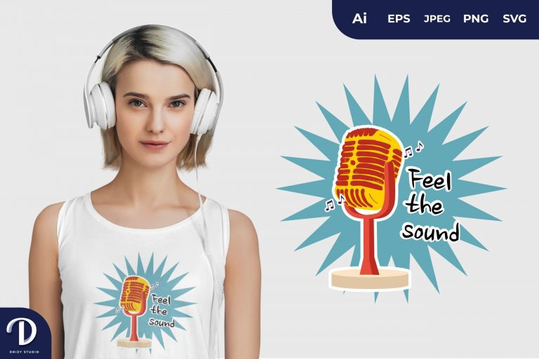 Classic Microphone Feel the Sound, Music Collection for T-Shirt Design