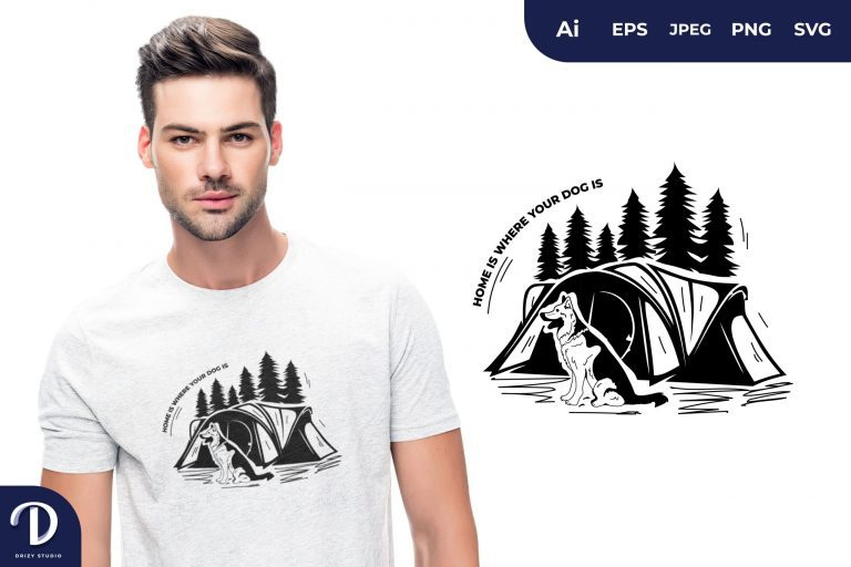 German Shepherd Home is Where Your Dog is for T-Shirt Design