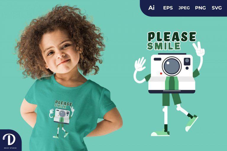 Land Camera Please Smile for T-Shirt Design
