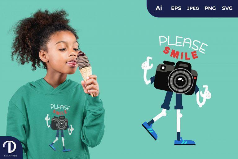 SLR Camera Please Smile for T-Shirt Design
