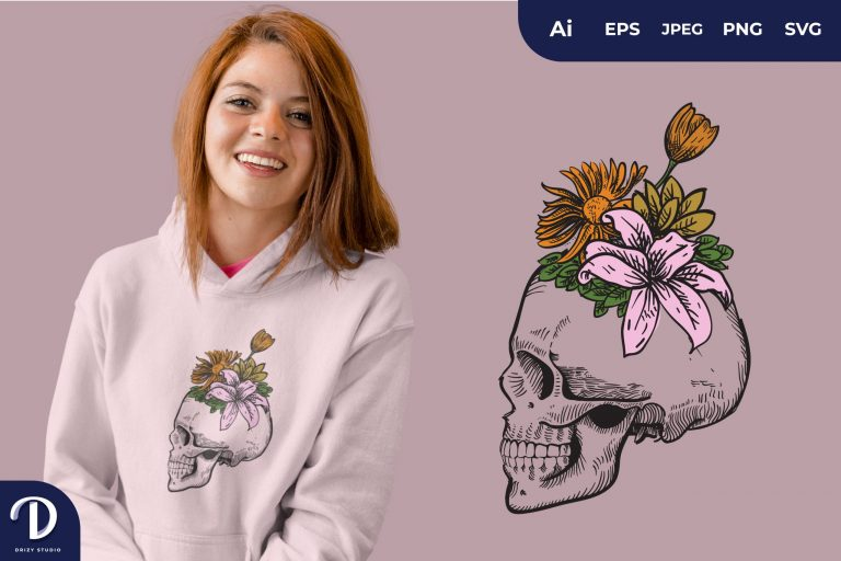 Preview image of Pink Skull Overgrown With Flowers for T-Shirt Design