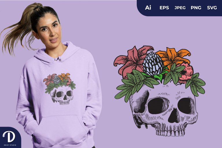 Purple Skull Overgrown With Flowers for T-Shirt Design