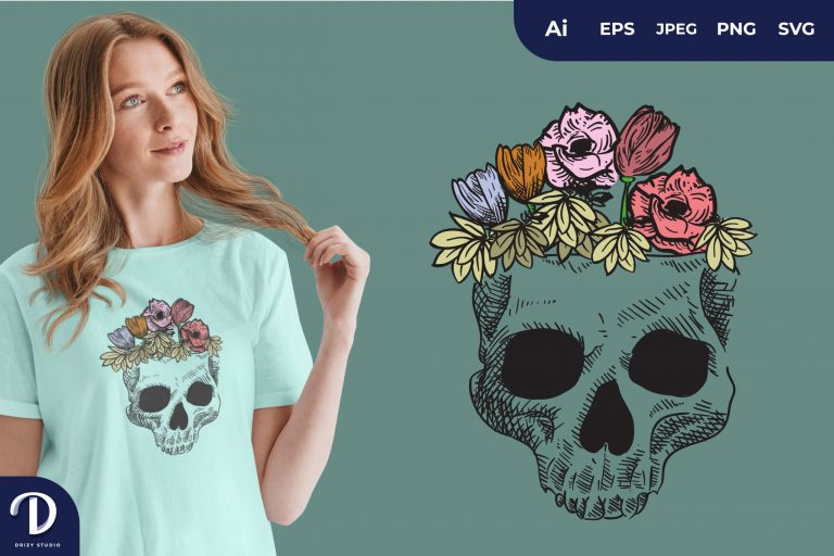 Tosca Skull Overgrown With Flowers for T-Shirt Design