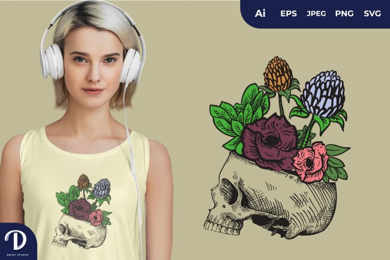 Yellow Skull Overgrown With Flowers for T-Shirt Design