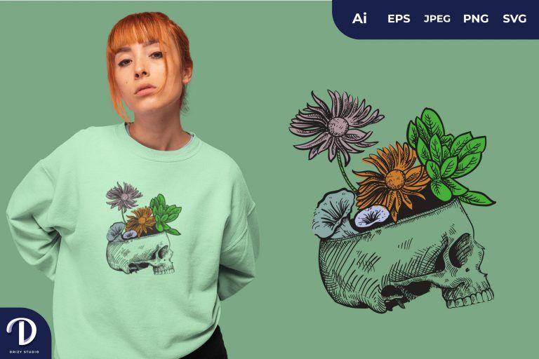 Green Skull Overgrown With Flowers for T-Shirt Design