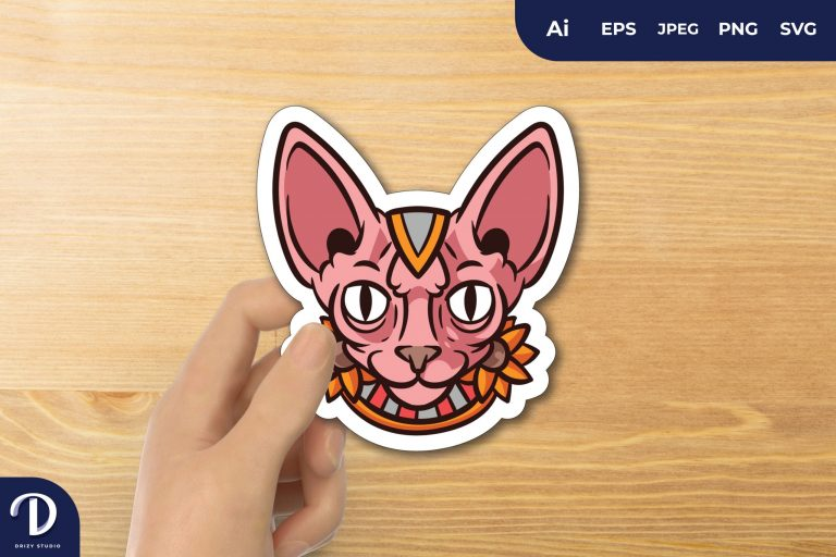 Pink Sphynx Cat Pharaoh with Flowers for Sticker