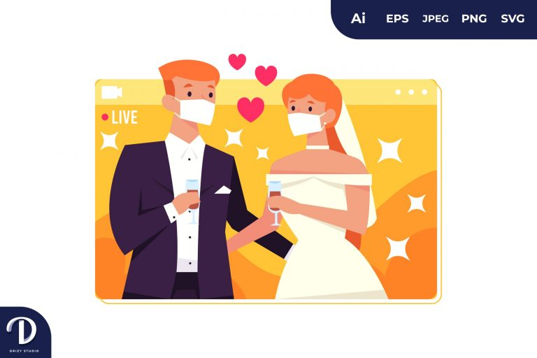 Blonde Couple Wedding Wear Mask During Covid-19