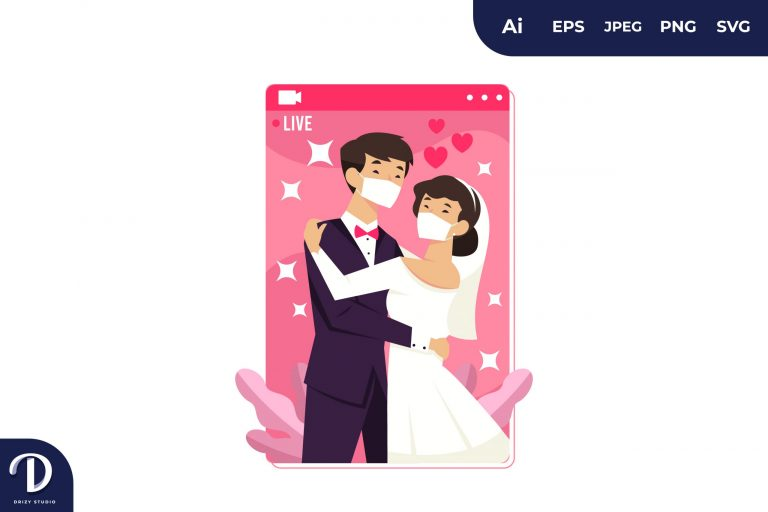 Preview image of Asian Couple Wedding Wear Mask During Covid-19