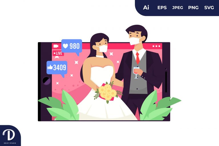 Asian Couple Live Wedding Wear Mask During Covid-19