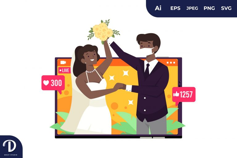 Black Couple Live Wedding Wear Mask During Covid-19