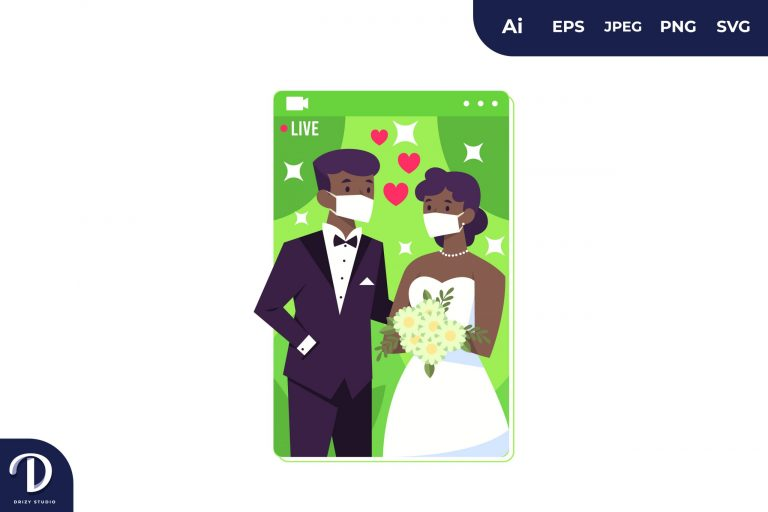 Preview image of Black Couple Wedding Wear Mask During Covid-19