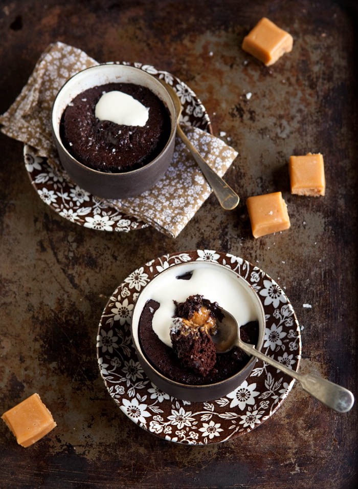 45 second chocolate pudding with salted caramel