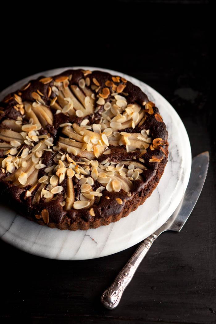 chocolate and pear frangipane tart