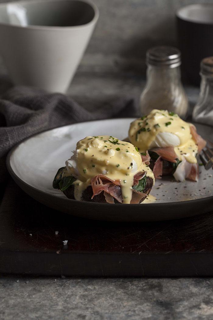 eggs benedict on roasted brown mushrooms