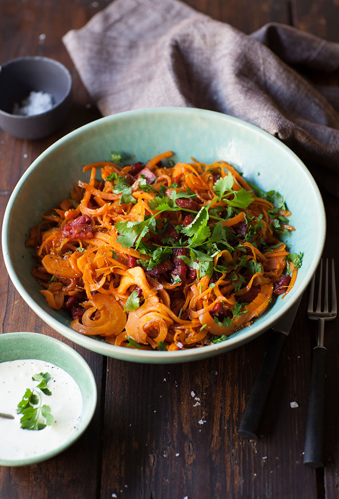 sweet potato 'noodles' with chorizo and orange