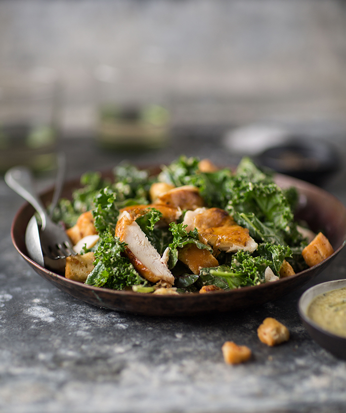 kale 'caesars salad' with roast chicken