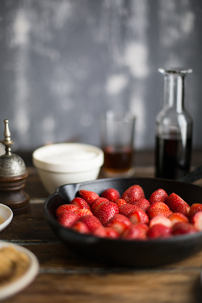 roasted strawberries with pimms, balsamic and ginger