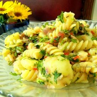 Warm Potato and Pasta Salad in Sweet Onion Dressing