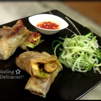 Toasted Veggie Rice Paper Rolls with Sweet Chili Dip