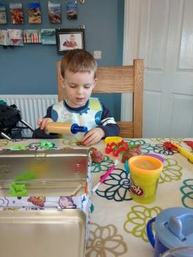 Play doh fun (on a really sunny day!)