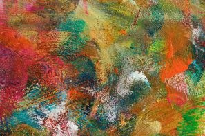 Detail of abstract expressionist healing painting with vibrant colors