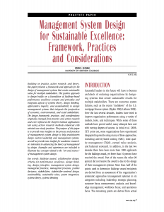 Management System Design for Sustainable Excellence
