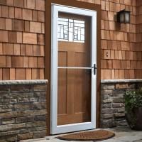 Door Storm & Tan Storm Door With Decorative Glass