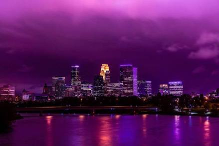 Minneapolis downtown purple