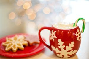 holiday drink and cookies